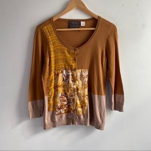 Guinevere brown silk scarf patchwork cardigan
